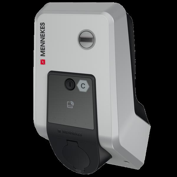 Schrägsicht auf Mennekes AMTRON Premium Wallbox mit Typ-2-Steckdose